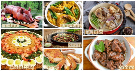 A collage of the seven best dishes of the Filipino culture.