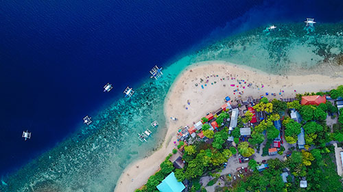 Aerial view of an island in the Philippines